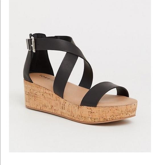 Size 9w Torrid Black Cork Wedge Sandals